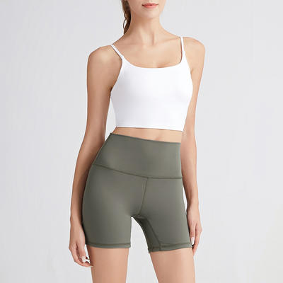 European and American pure color nude yoga shorts booty lifter legging