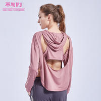 Breathable loose outdoor running smock fitness yoga suit long hoodies for women